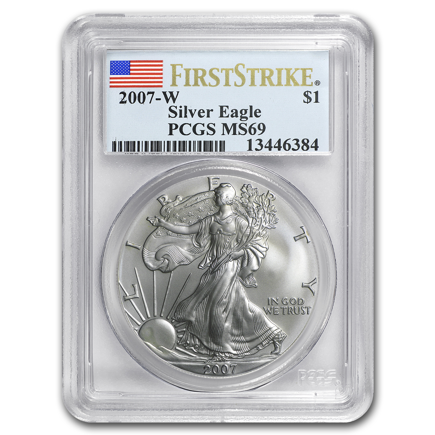 2007-W (Burnished) Silver American Eagle MS-69 PCGS (FS)