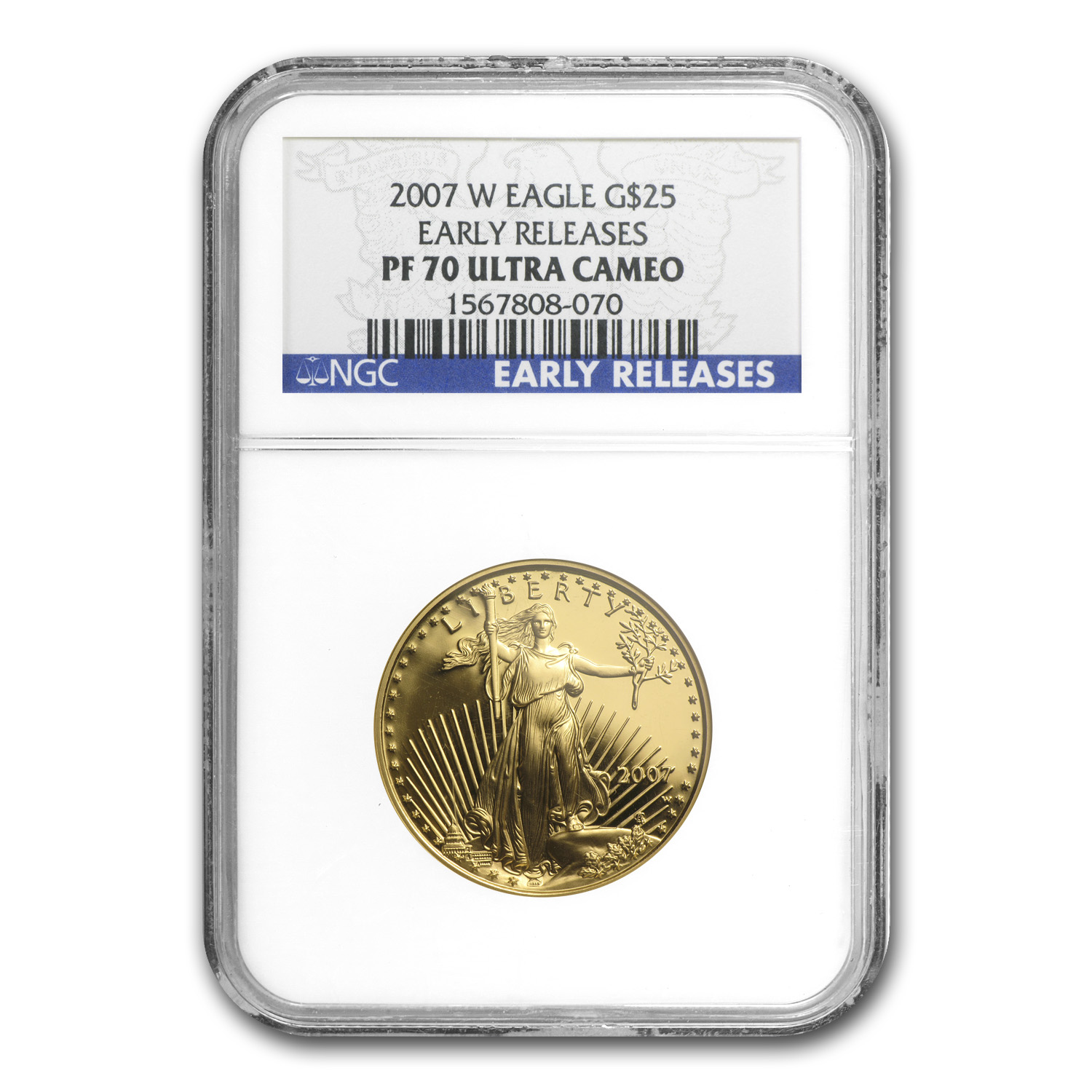 2007-W 1/2 oz Proof Gold American Eagle PF-70 NGC (ER)