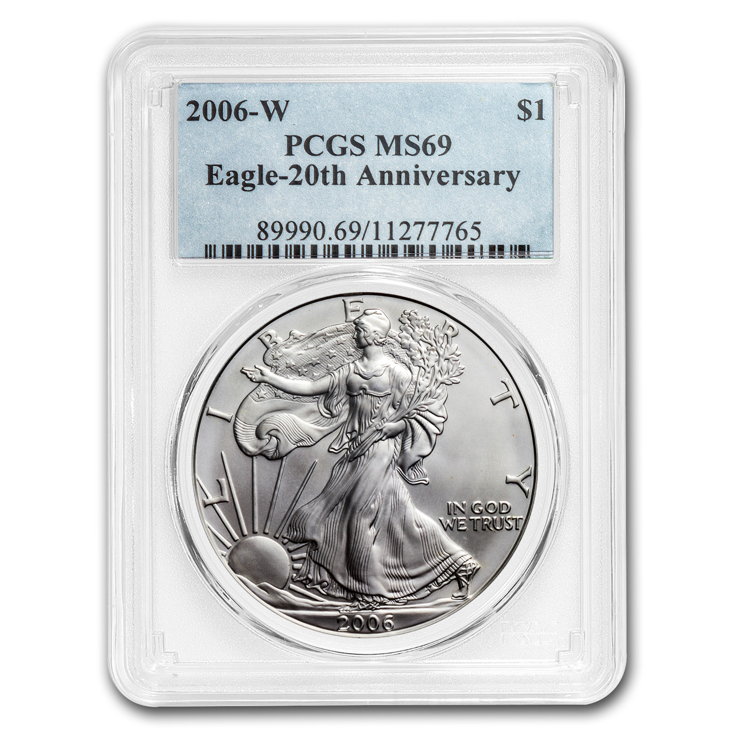 2006-W Burnished Silver American Eagle MS-69 PCGS (20th Anniv)