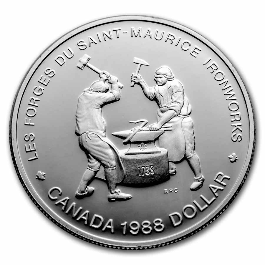 1988 Canada Silver Dollar Proof (Saint-Maurice Ironworks)
