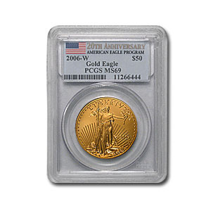 2006-W 1 oz Burnished Gold Eagle MS-69 PCGS (20th Anniv)