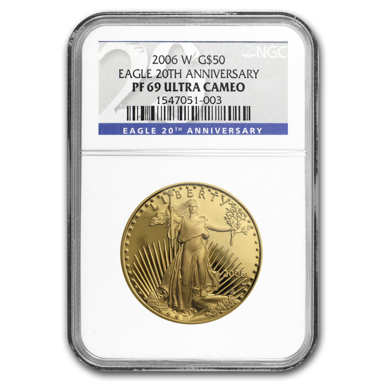 2006-W 1 oz Proof Gold American Eagle PF-69 NGC (20th Anniv)