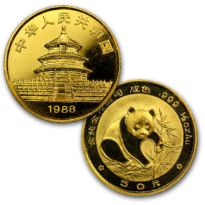 1/2 oz Gold Chinese Panda BU - Random Year (Not Sealed)