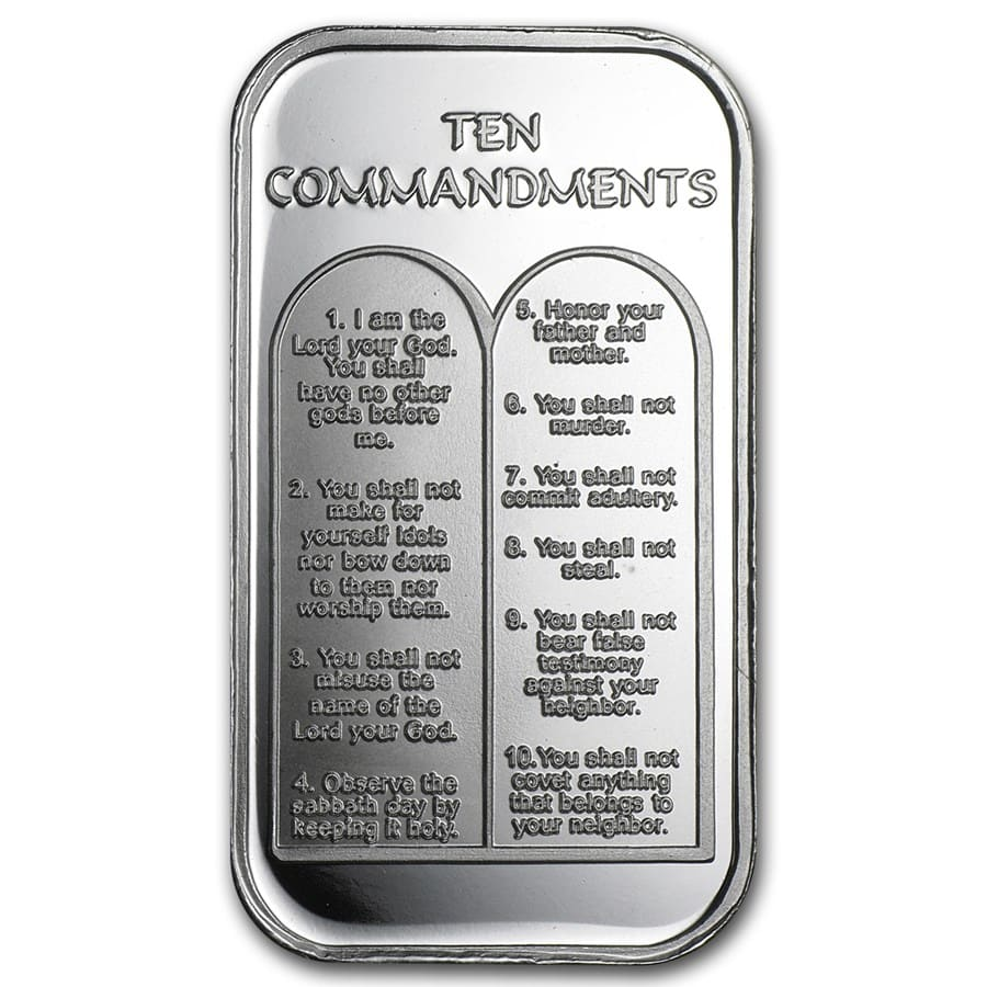 1 oz Silver Bar - Ten Commandments