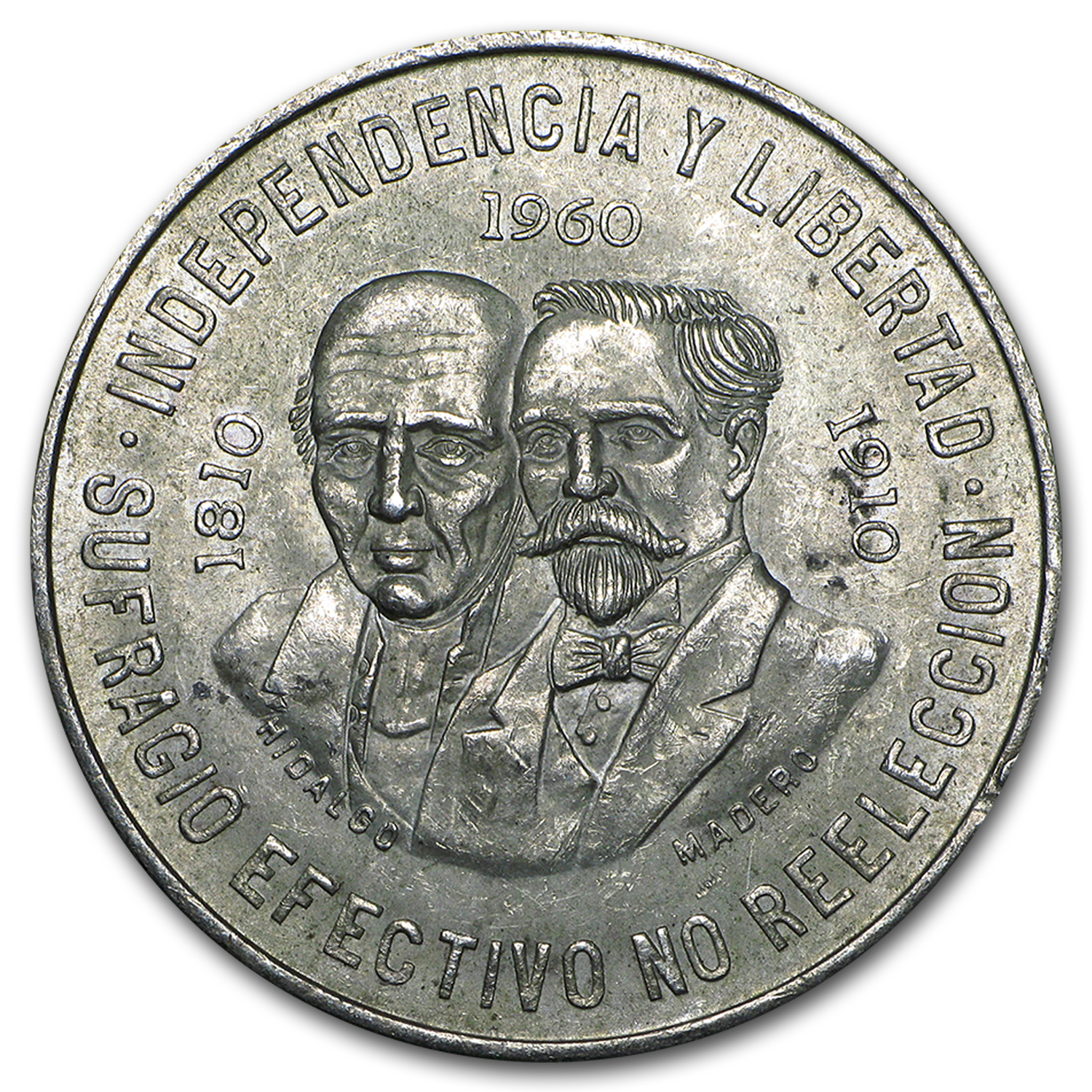 1960 Mexican Silver 10 Pesos 150th Ann (XF-AU) ASW .8357 oz