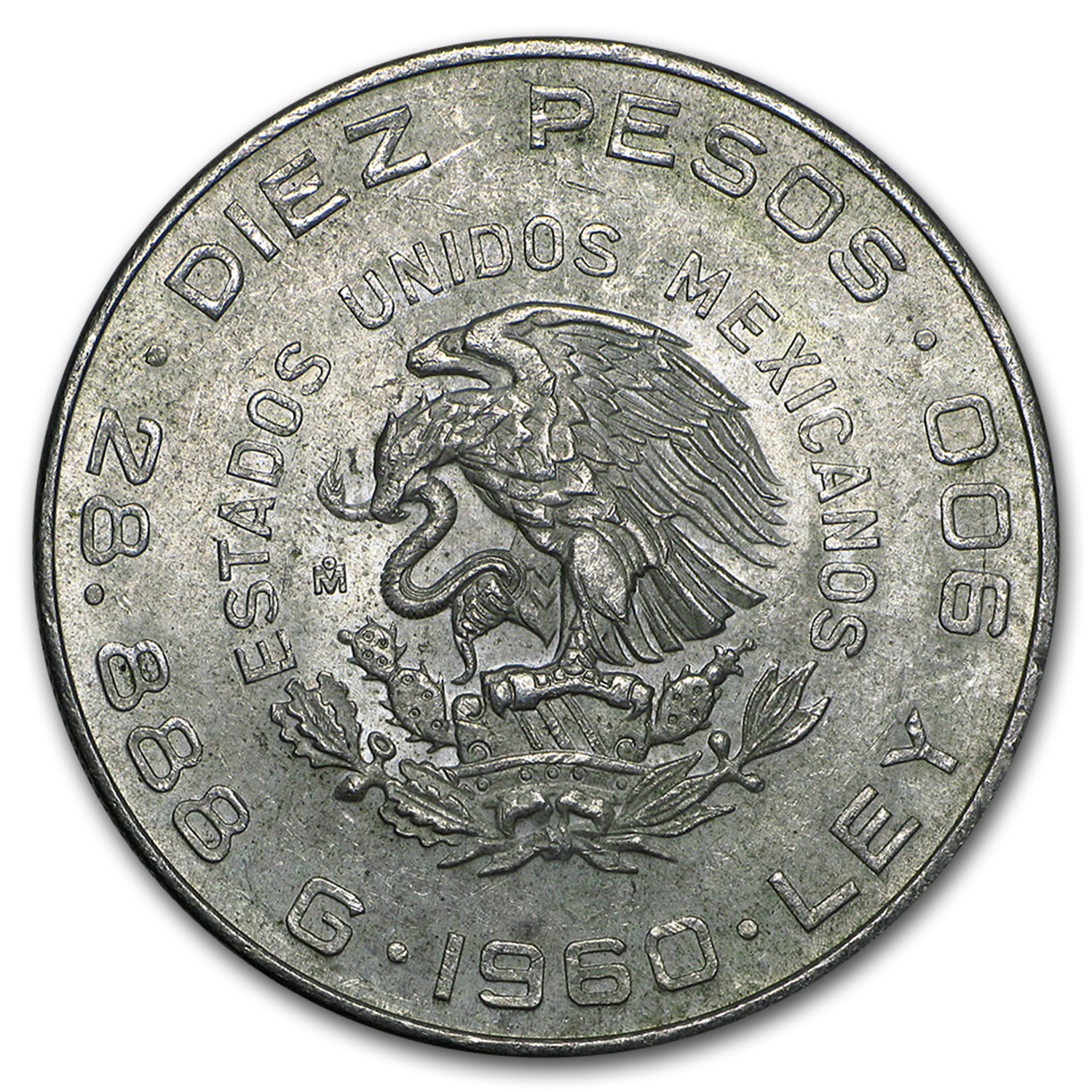 1960 Mexico Silver 10 Pesos 150th Ann XF-AU (ASW .8357 oz)