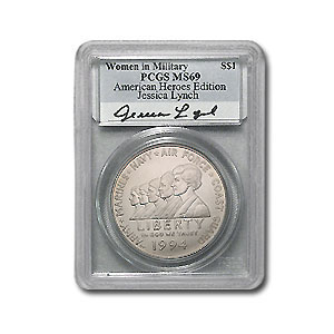 1994-W Women in Military Jessica Lynch $1 Silver Comm. MS-69 PCGS
