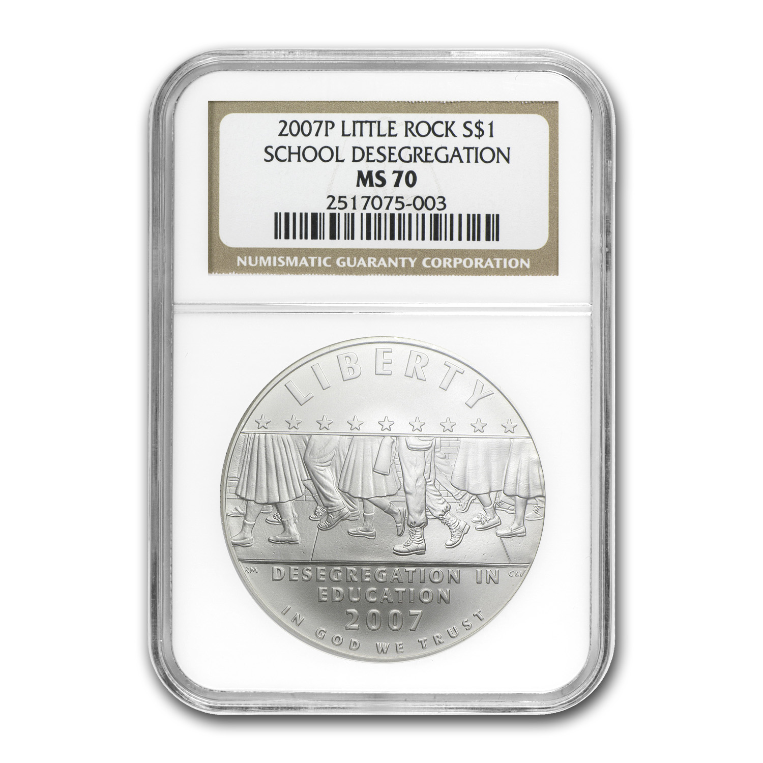 2007-P School Desegregation $1 Silver Commem MS-70 NGC