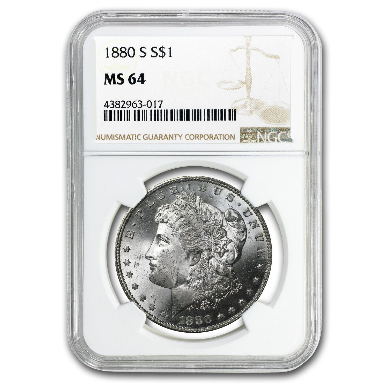 1880/9-S Morgan Dollar MS-64 NGC (VAM-11, 0/9 Overdate Hot-50)