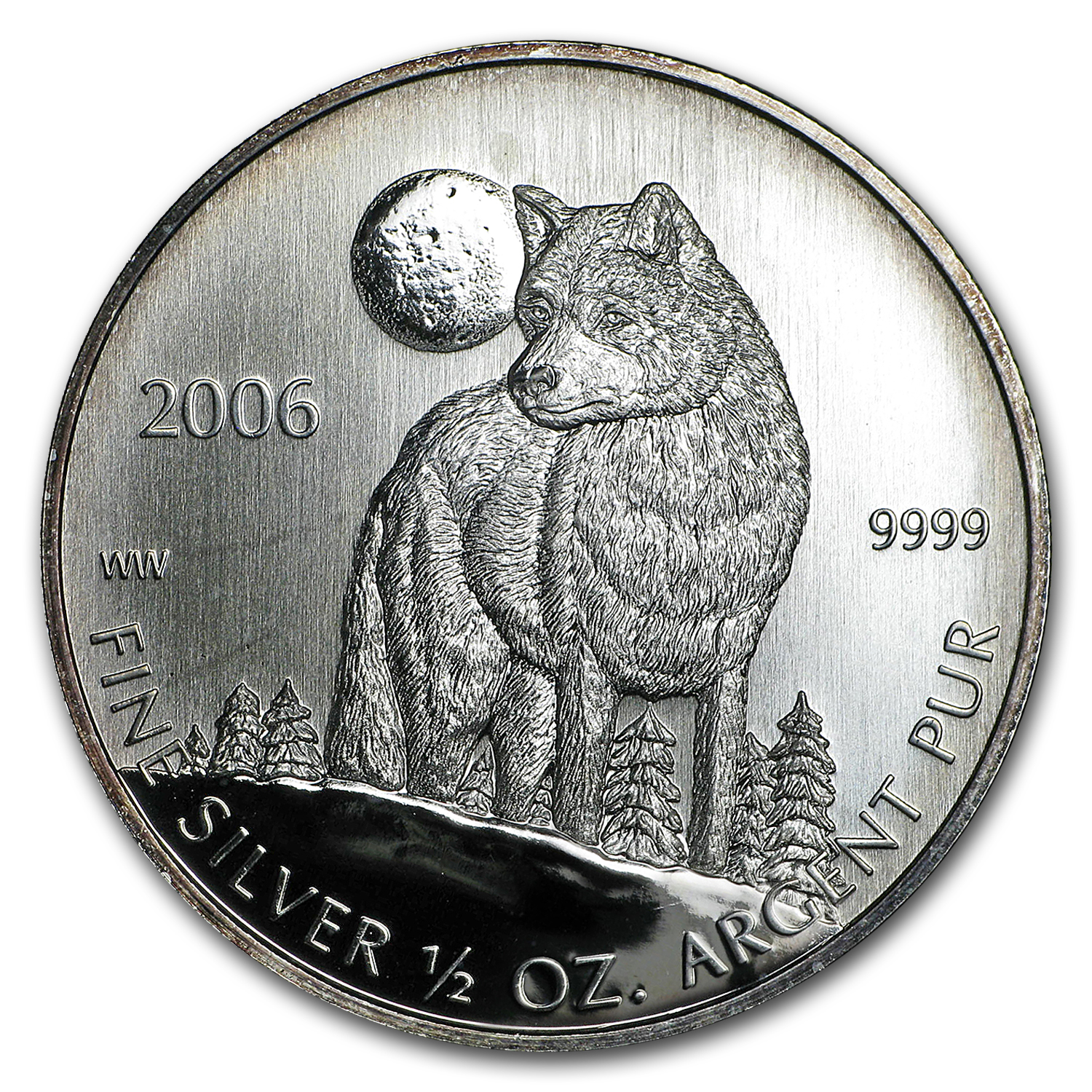 2006 1/2 oz Silver Canadian Timber Wolf Coin (Abrasions/Spotted)