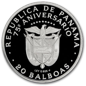 1978 Panama Silver 20 Balboas 75th Anniv Proof