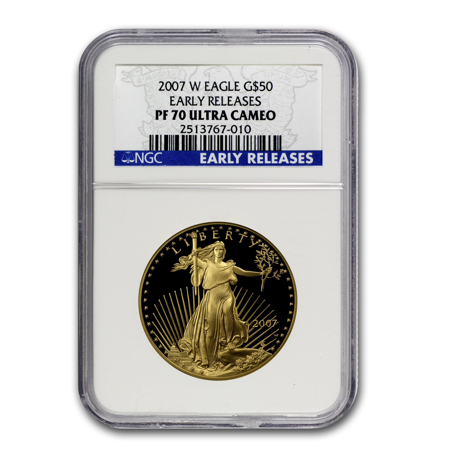 2007-W 1 oz Proof Gold American Eagle PF-70 NGC (ER)