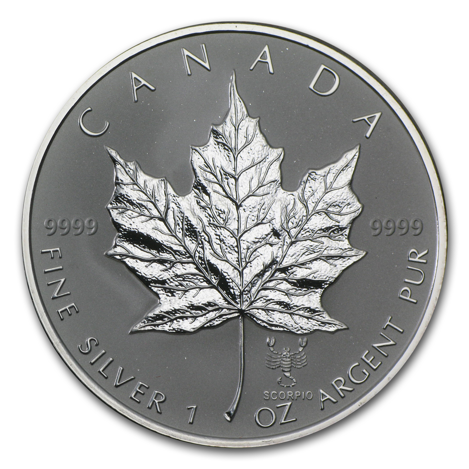 2004 Canada 1 oz Silver Maple Leaf Scorpio Zodiac Privy