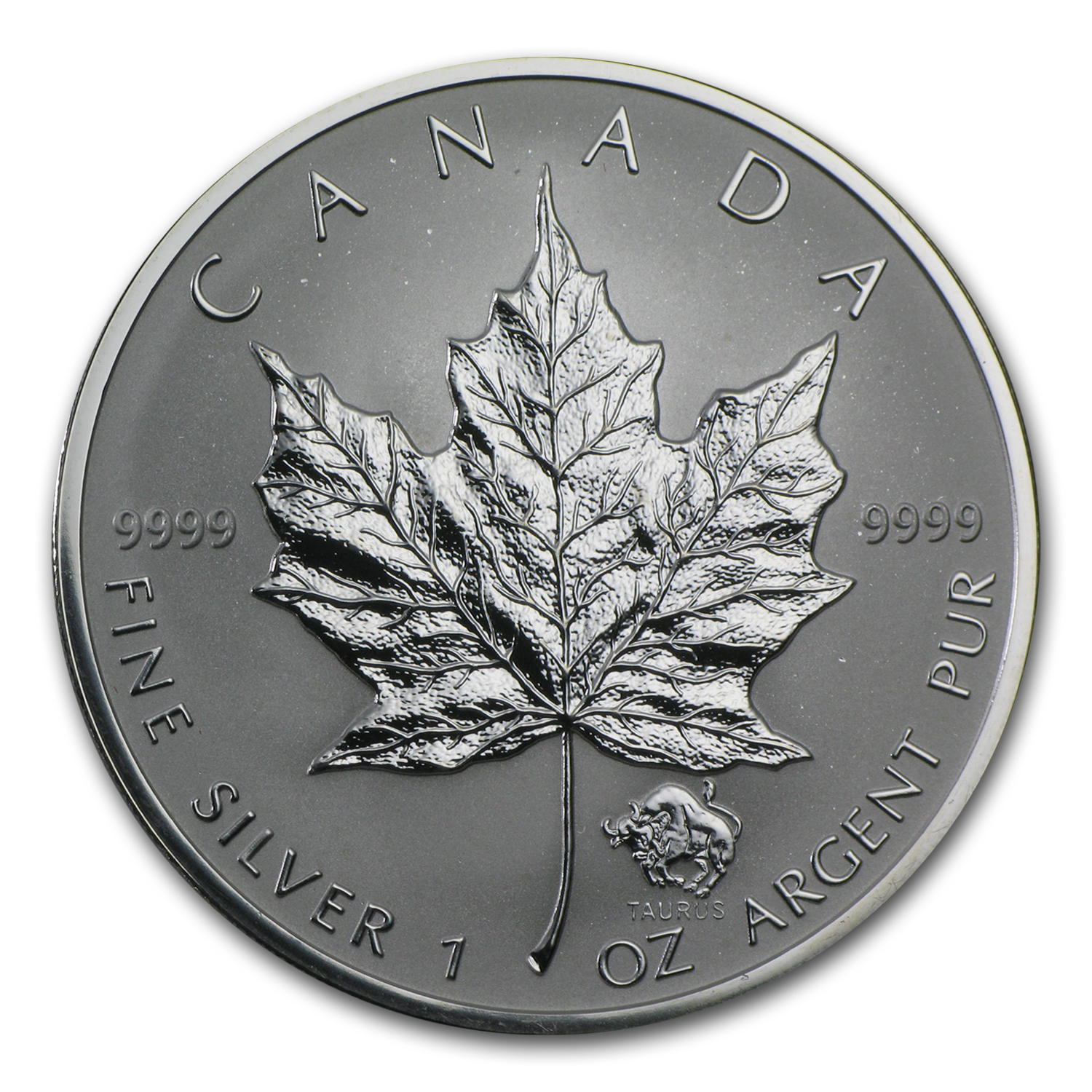 2004 1 oz Silver Canadian Maple Leaf - Taurus Zodiac Privy