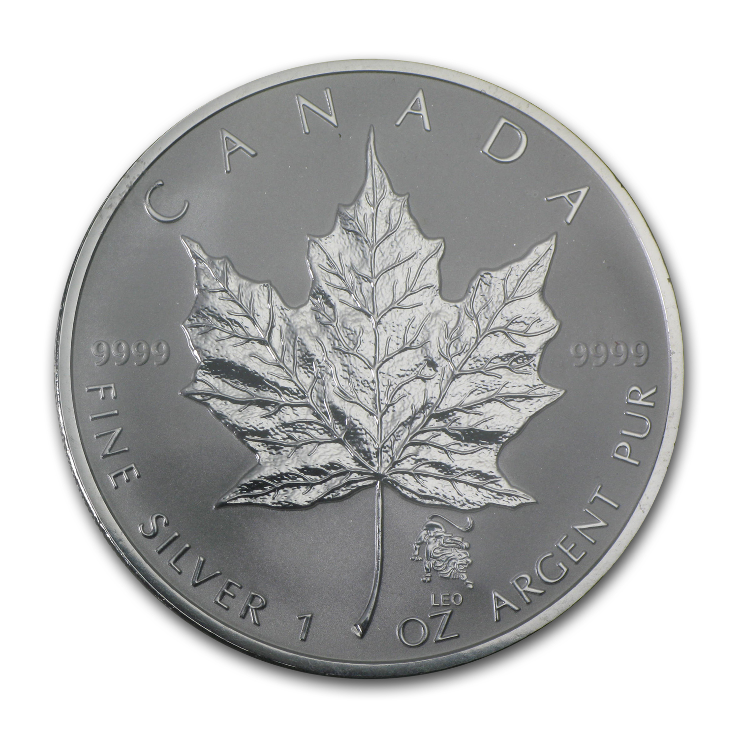 2004 Canada 1 oz Silver Maple Leaf Leo Zodiac Privy