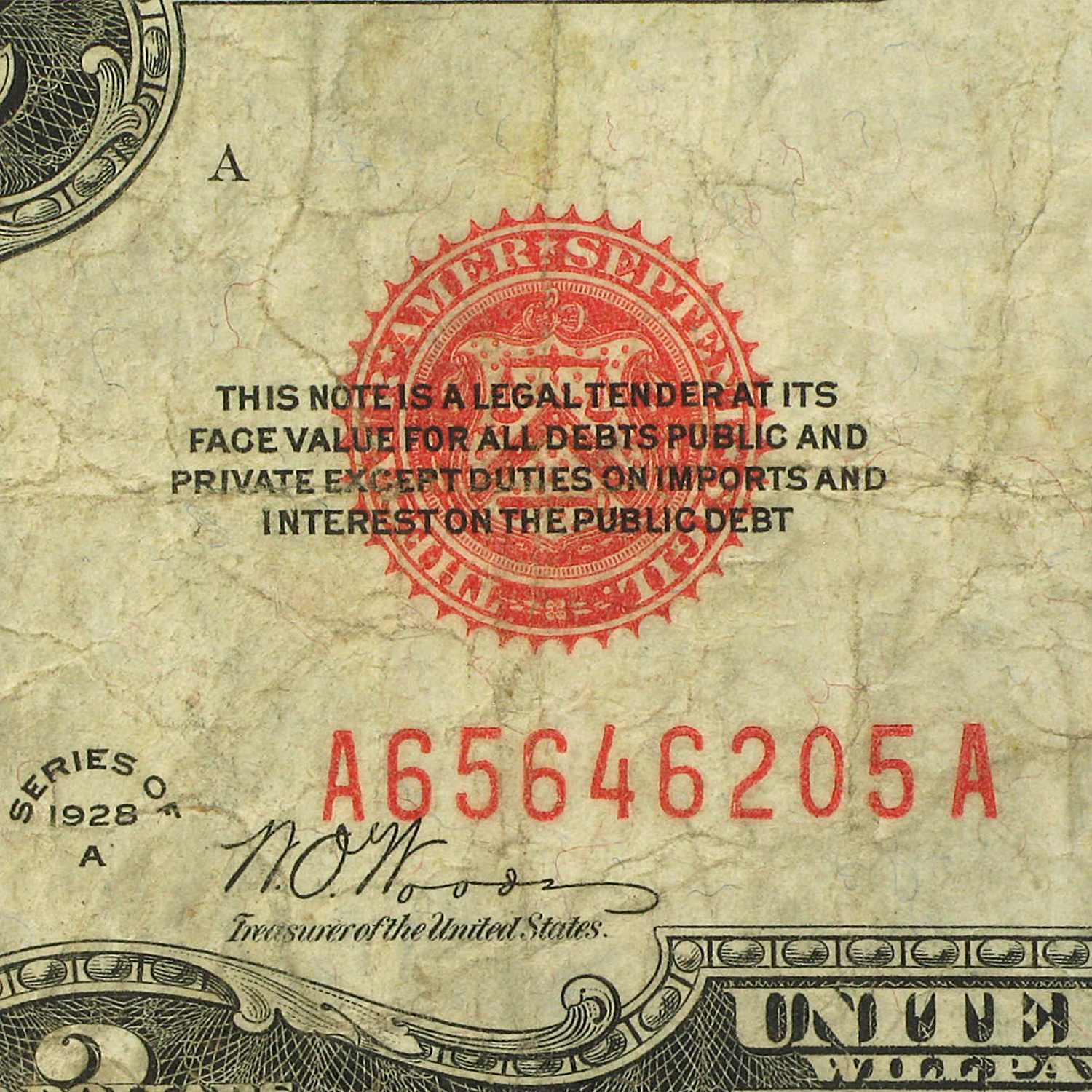 1928-A $2.00 U.S. Note Red Seal VG