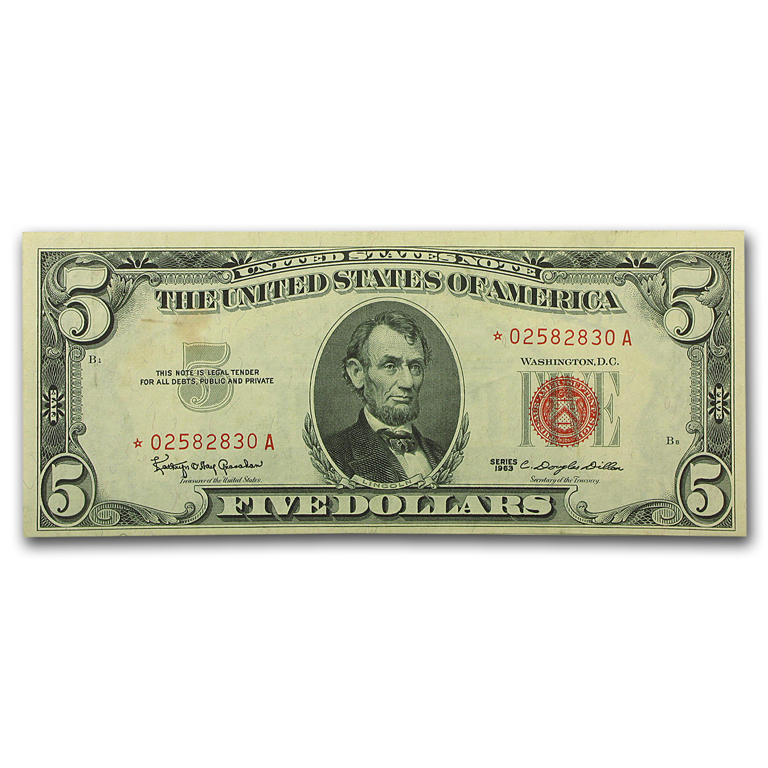1963* $5.00 U.S. Note Red Seal AU (Star Note)