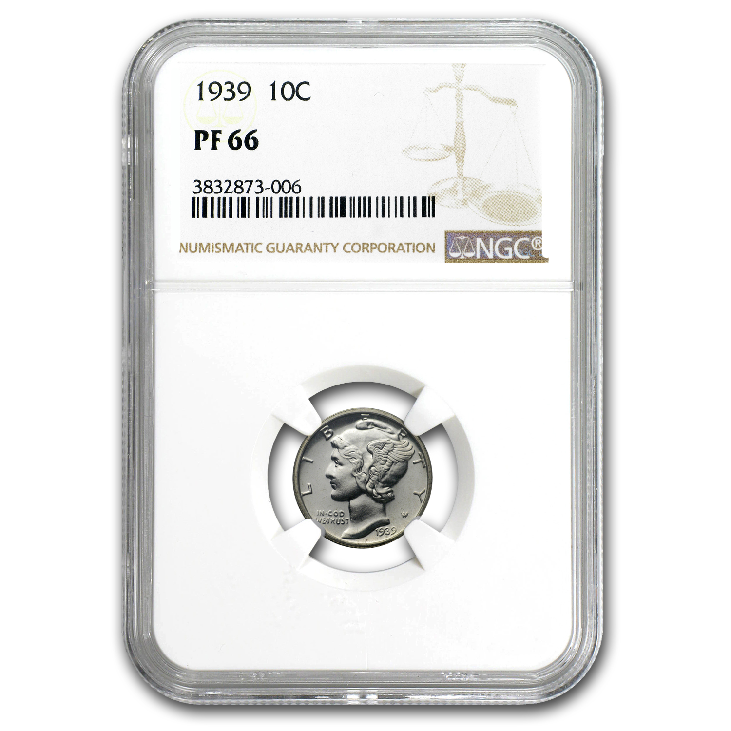 1939 Mercury Dime Proof-66 NGC