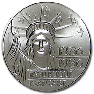 France 1986 100 Francs Silver Piedfort Statue of Liberty