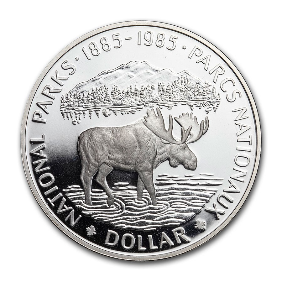 1985 Canada Silver Dollar National Parks Proof Moose