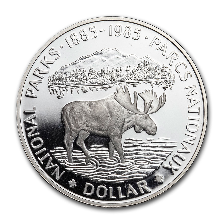 1985 Canada Silver Dollar National Parks Proof (Moose)