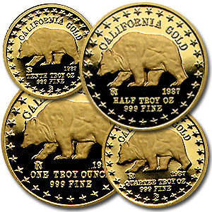 1.85 oz Gold Round - 1987 Great Seal of California Set (4 pc.)