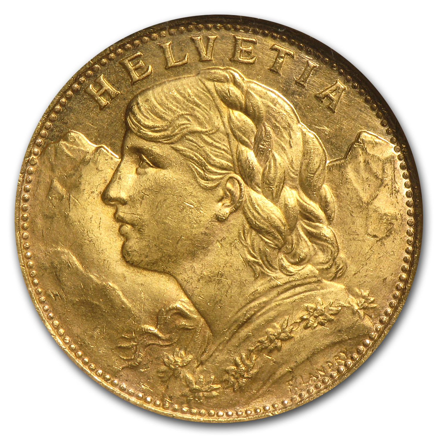 1901-1935 Switzerland Gold 20 Francs MS- 63 NGC