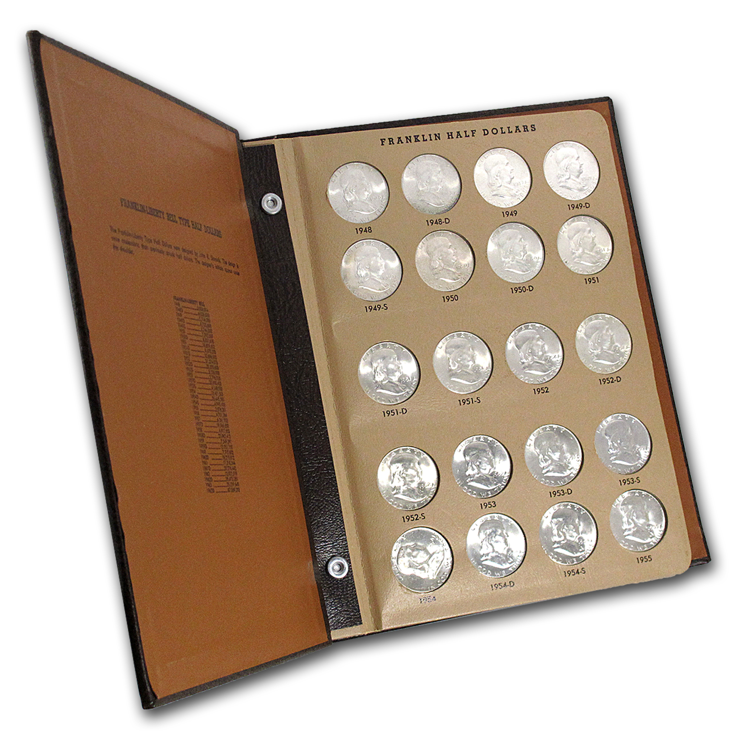1948-1963 Franklin Half Dollar Set BU (Dansco Album)
