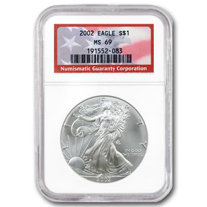 2002 Silver American Eagle MS-69 NGC (American Flag Label)