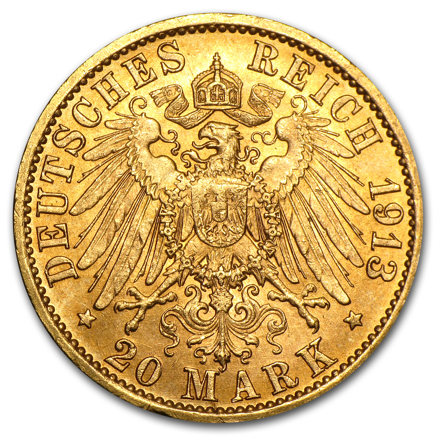 1913-1914 Prussia Gold 20 Marks Jubilee Bust Avg Circ