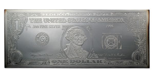 4 oz Silver Bars - $1 Bill