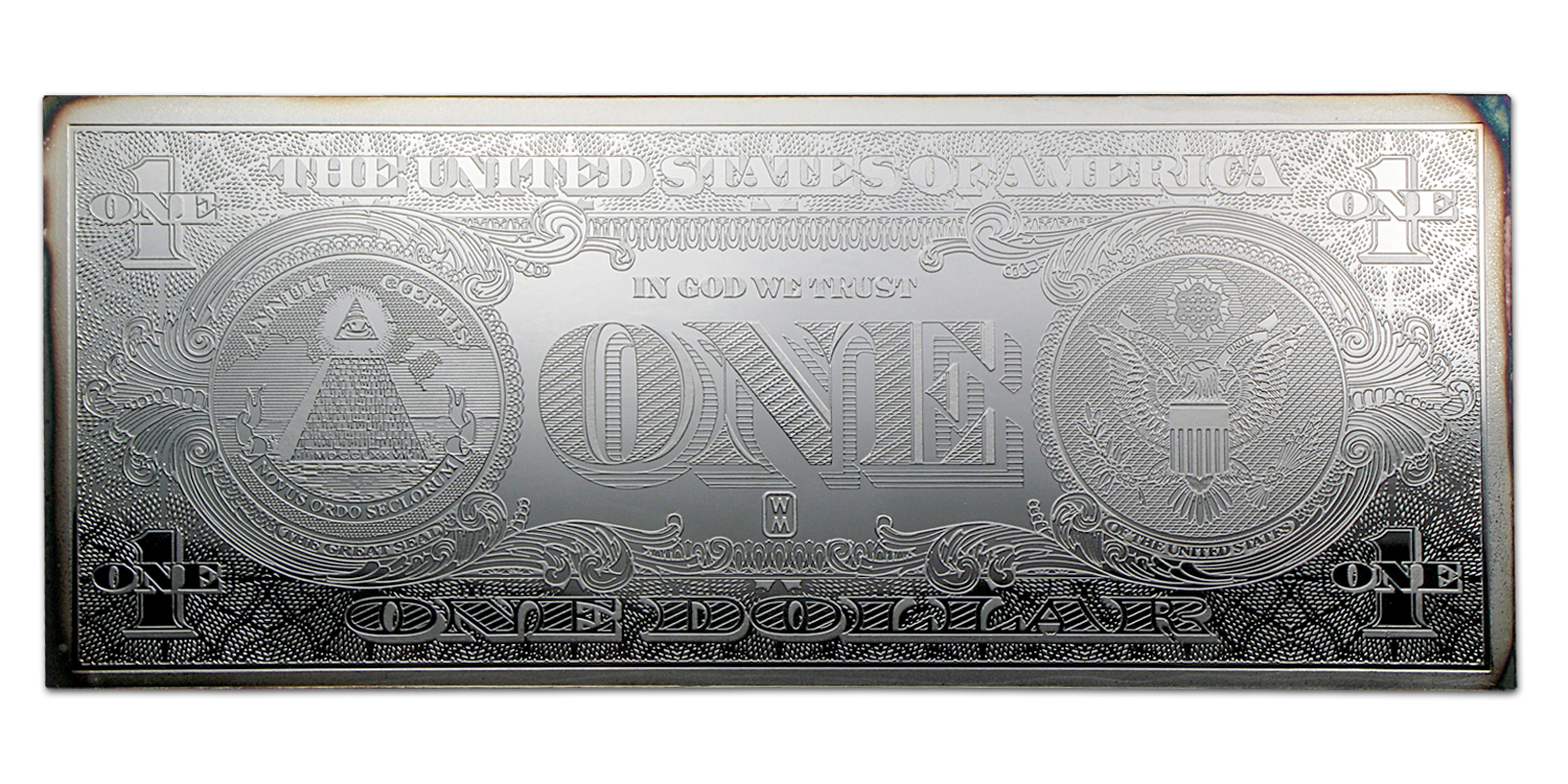4 oz Silver Bar - $1 Bill