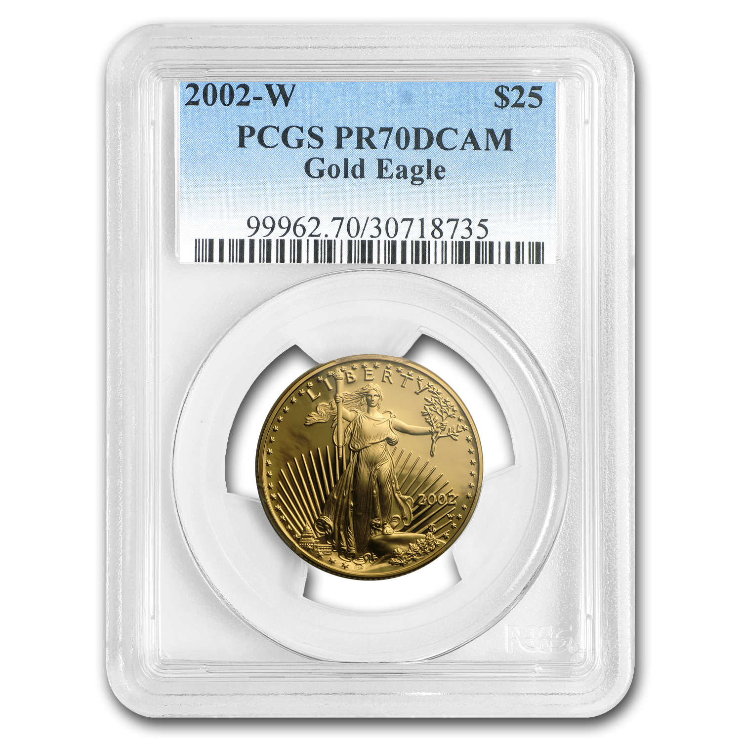 2002-W 1/2 oz Proof Gold American Eagle PR-70 PCGS
