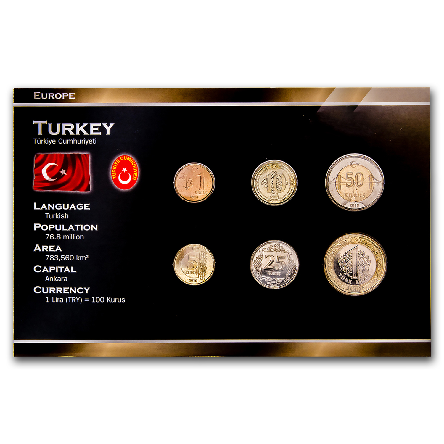 2005 Turkey 6-Coin Set 1 Kurus - 1 Lira BU