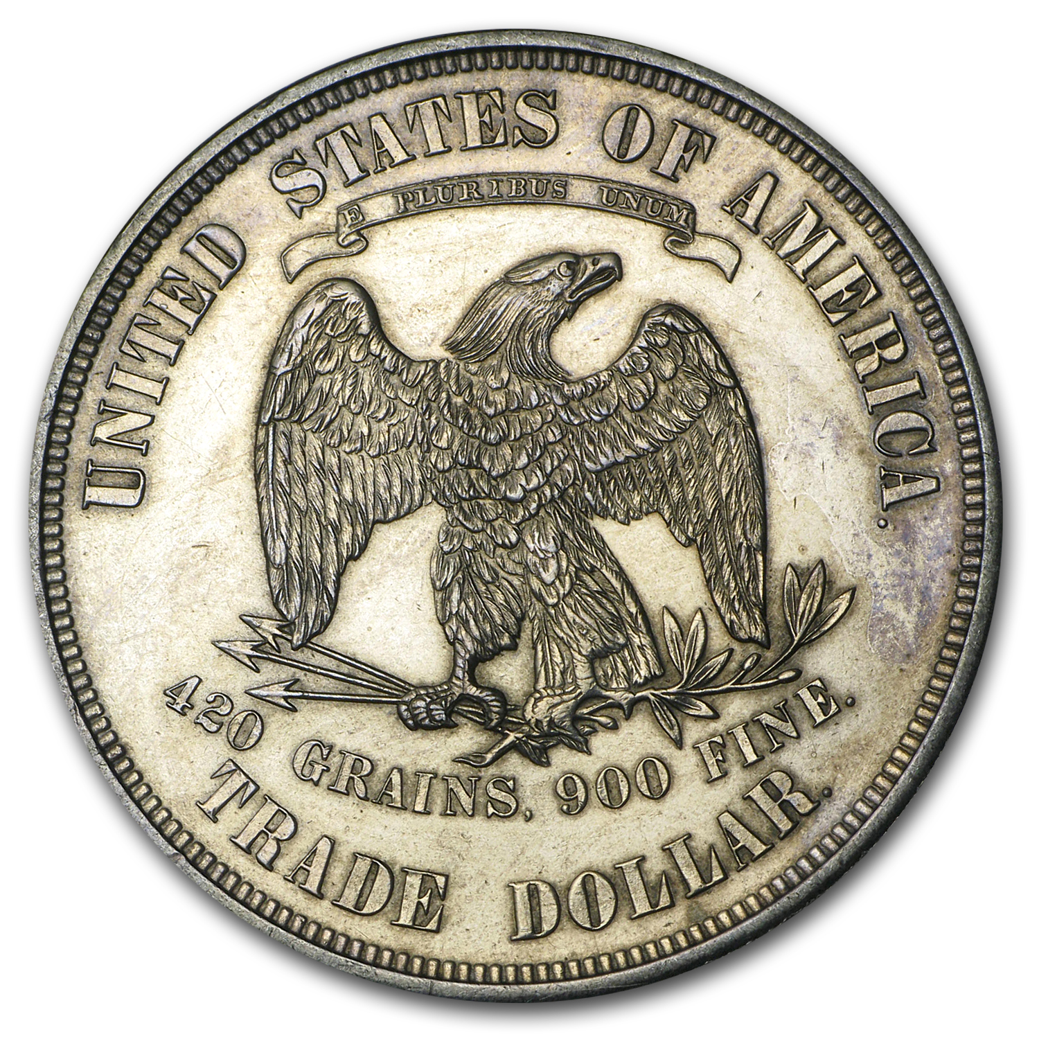 1873 Trade Dollar Unc Details (Cleaned)