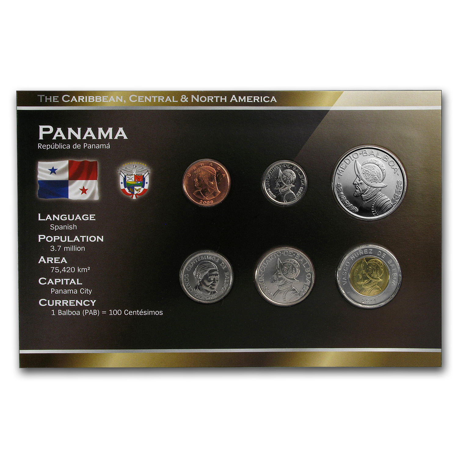 1996-2008 Panama 1 Centesimo-1/2 Balboa Coin Set