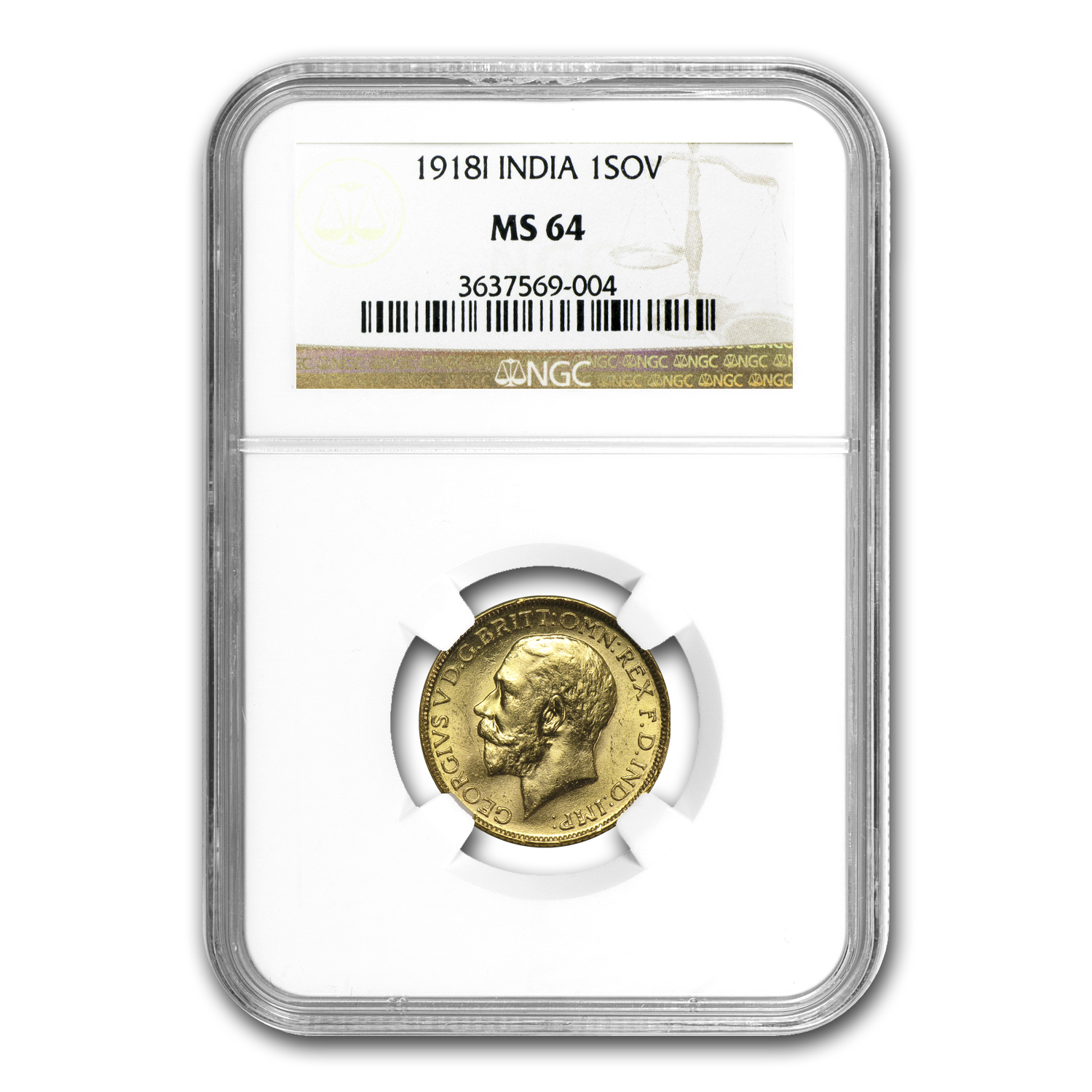 1918 India Gold Sovereign George V MS-64 PCGS/NGC