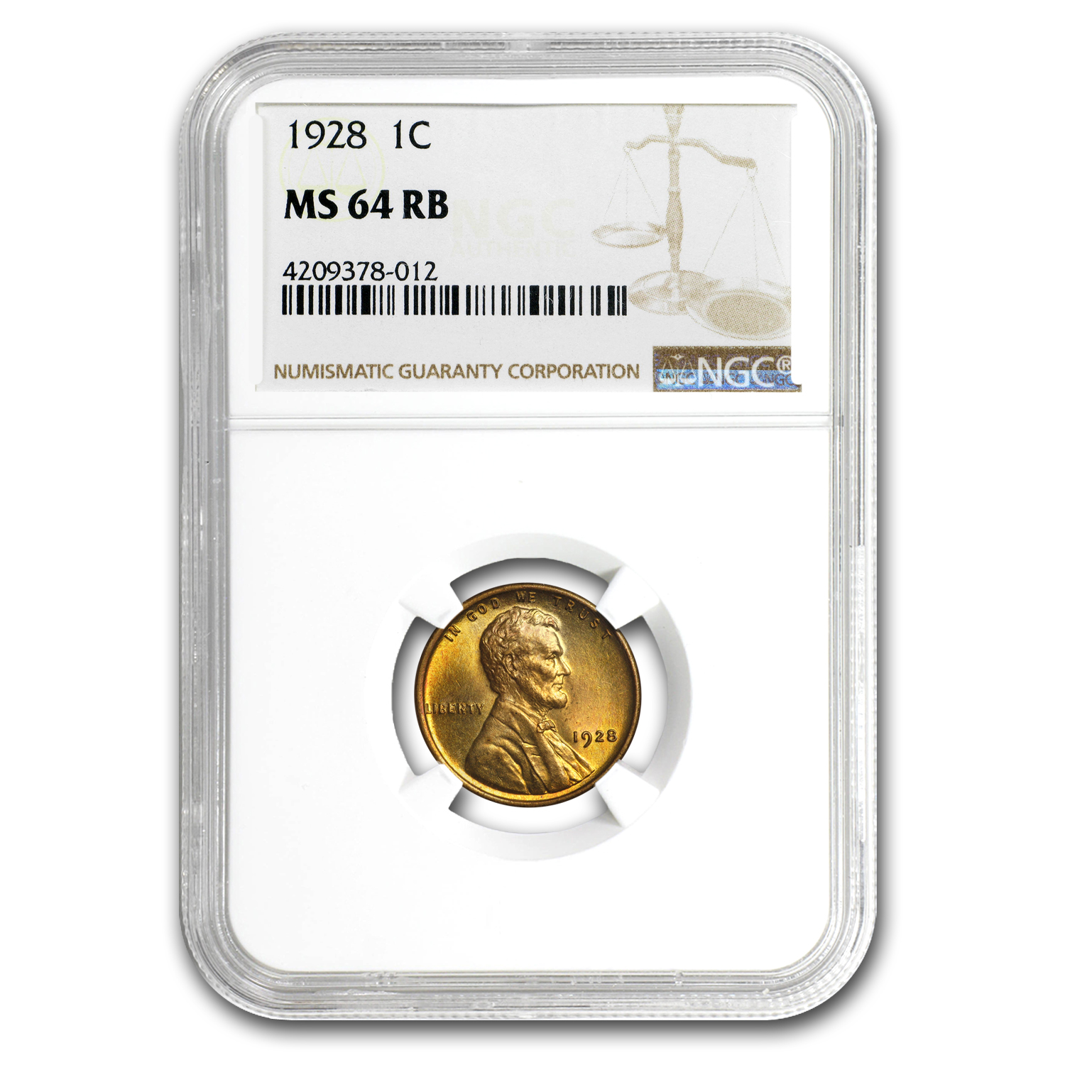 1928 Lincoln Cent MS-64 NGC (Red/Brown)