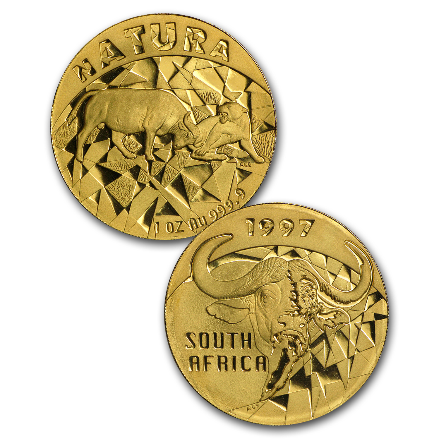 1997 South Africa 4-Coin Gold Natura Buffalo Proof Set