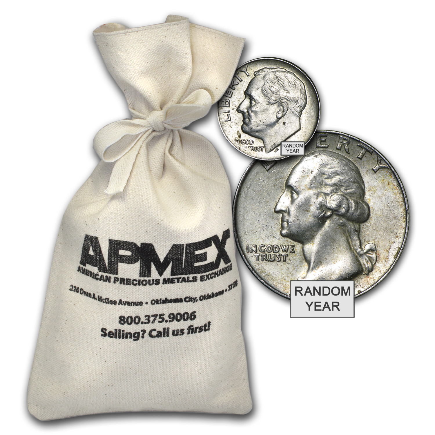 90% Silver Coins - $100 Face-Value Bag