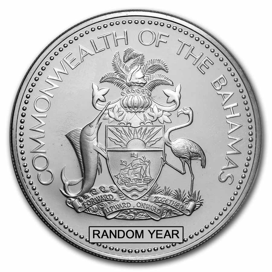 Bahamas 1974-76 5 Dollars Silver Proof