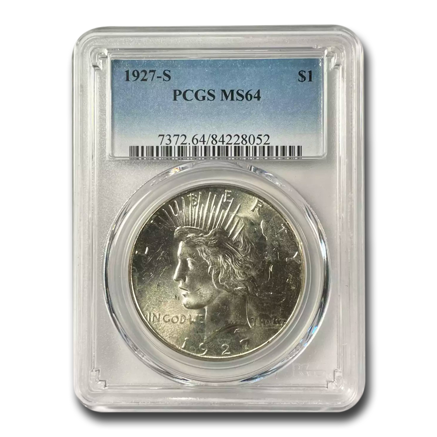 1927-S Peace Dollar MS-64 PCGS