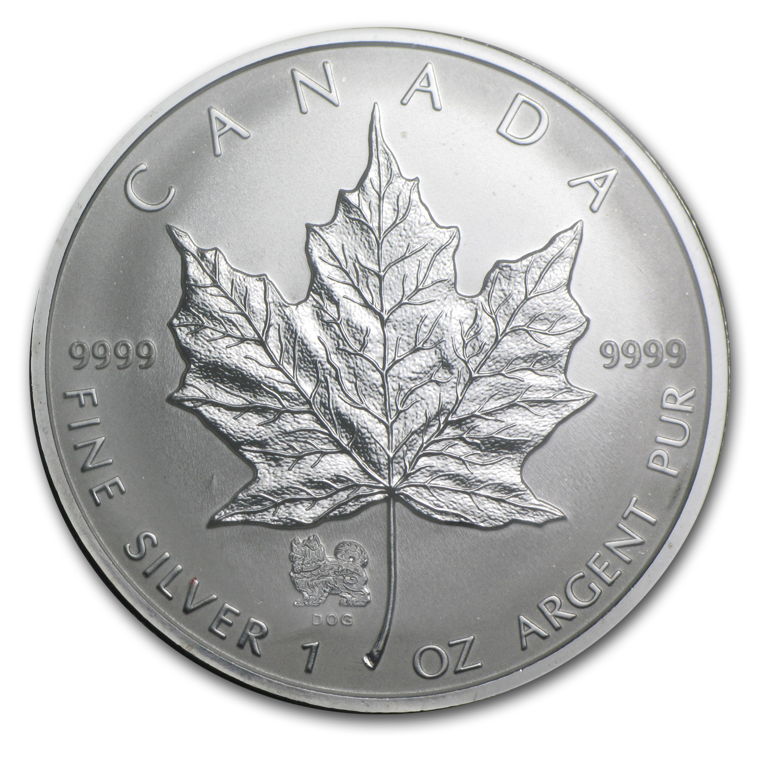 2006 1 oz Silver Canadian Maple Leaf - Lunar DOG Privy
