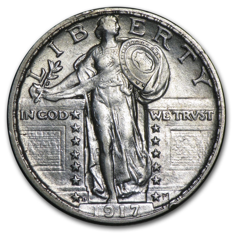 1917 D Standing Liberty Quarter Type Ii Au Standing