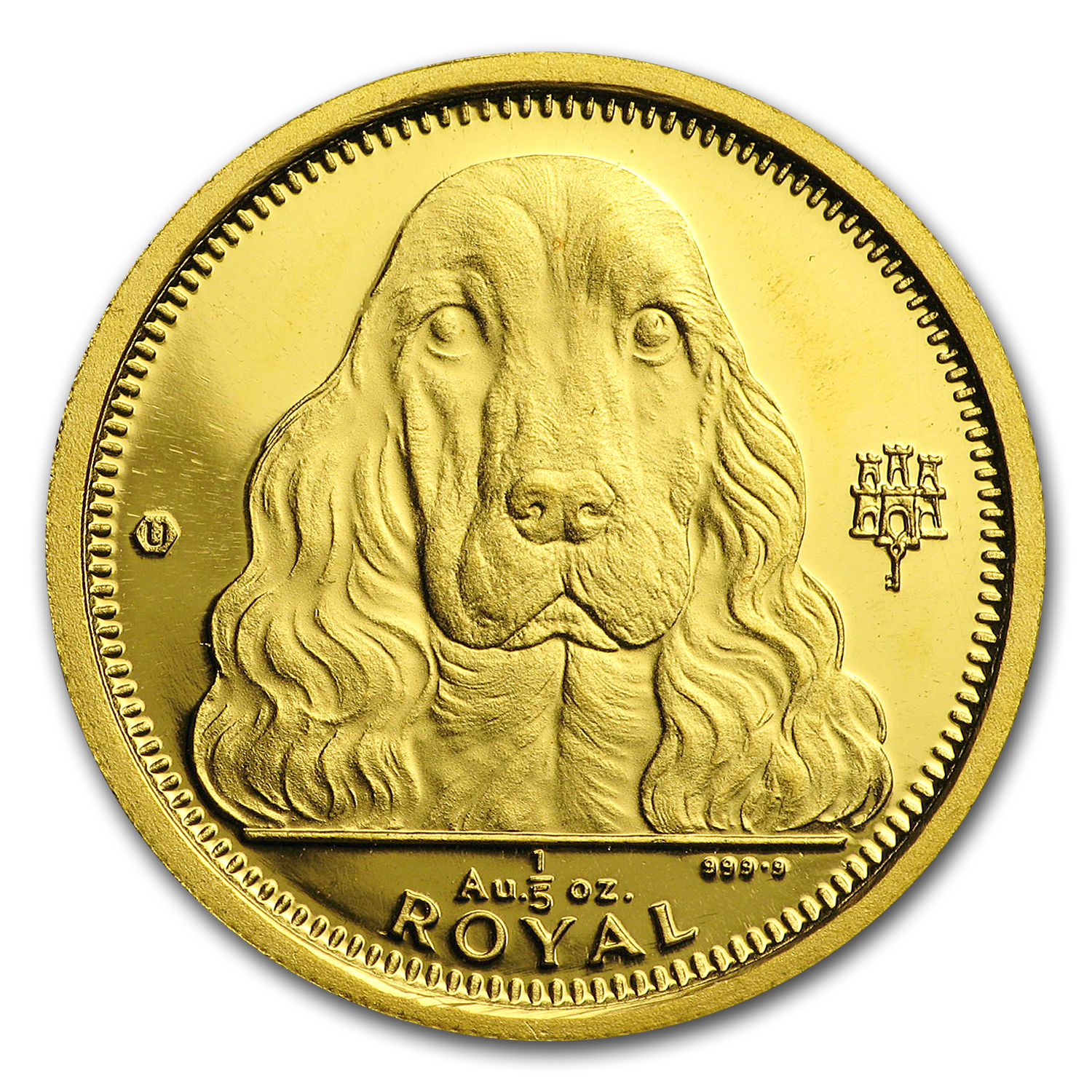 1992 Gibraltar Gold 1/5 oz Royal Cocker Spaniel BU