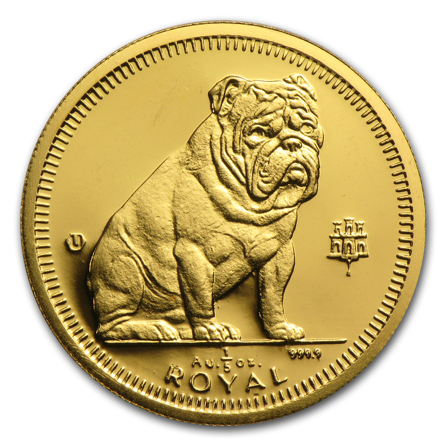 Gibraltar 1/5 Royal Gold Dogs Unc AGW 0.200