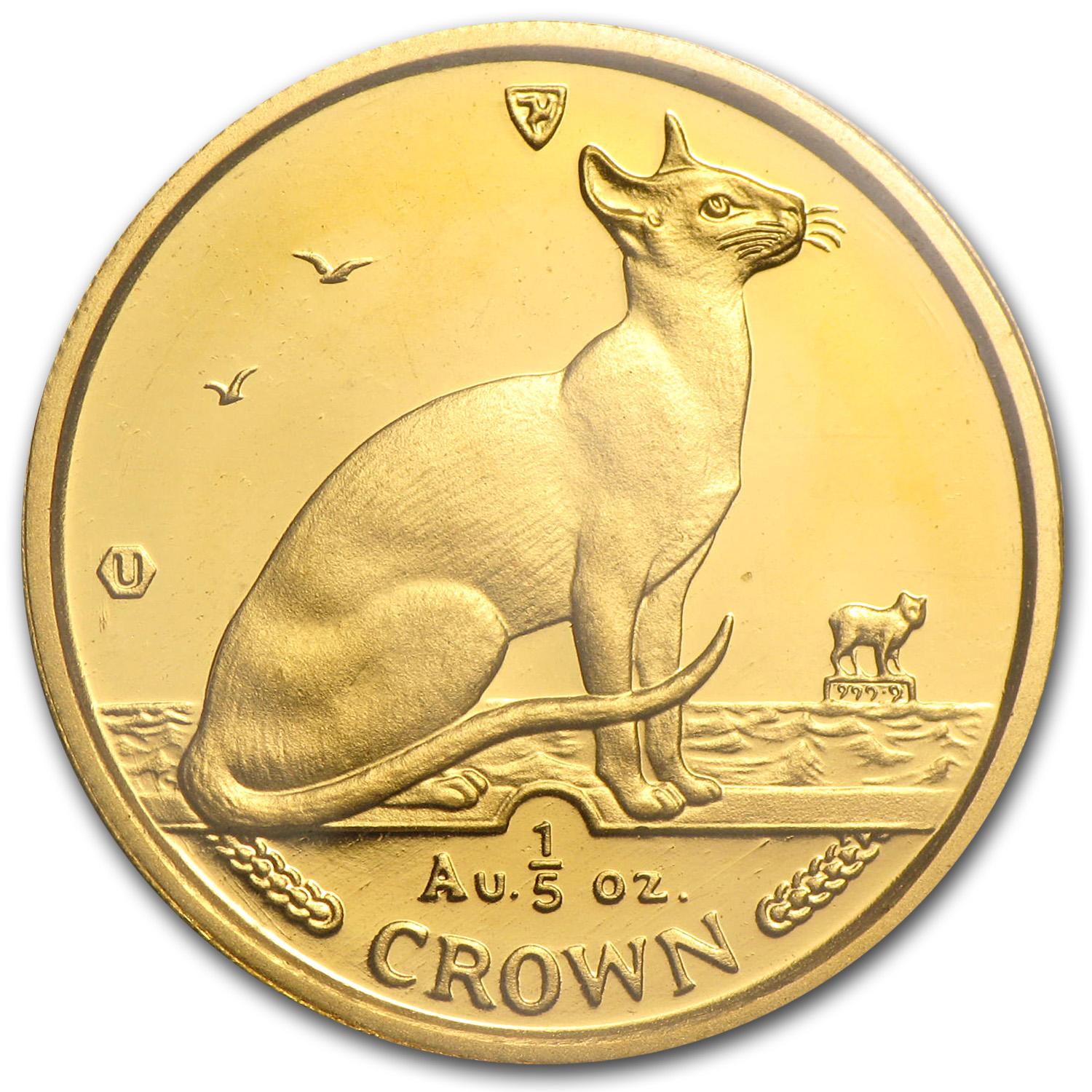 1992 Isle of Man 1/5 Crown Gold Siamese Cat