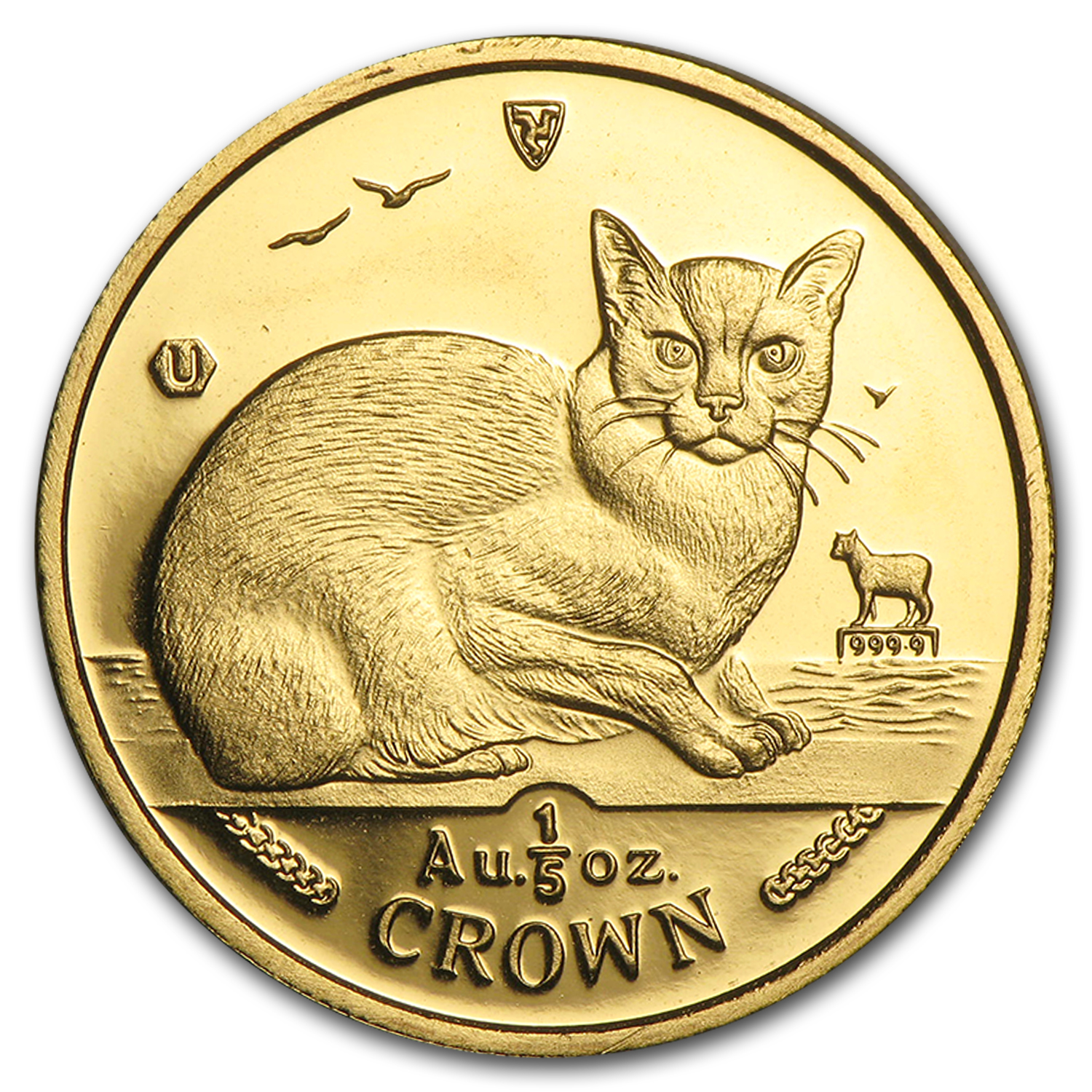 1996 Isle of Man 1/5 oz Gold Burmese Cat BU