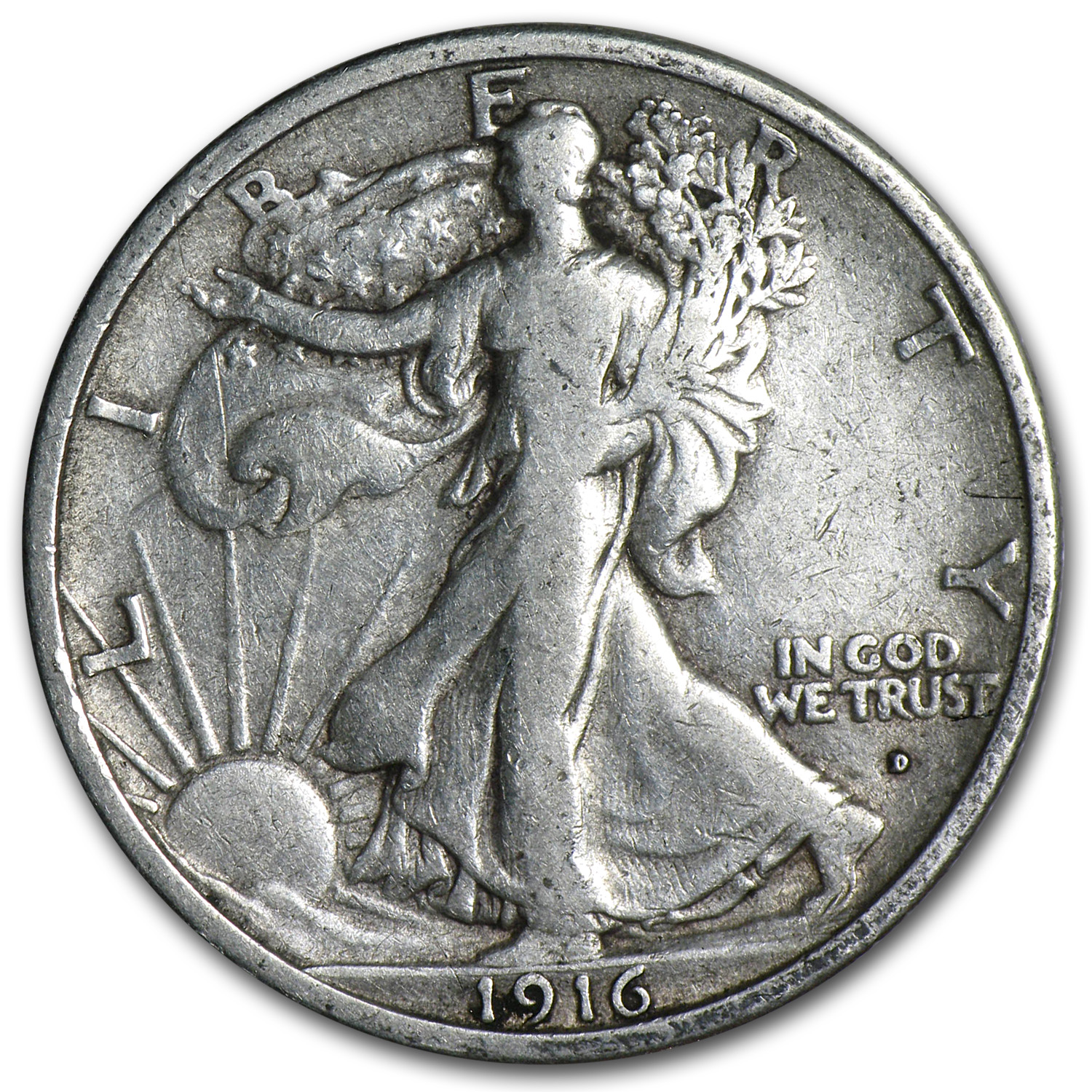 1916-D Walking Liberty Half Dollar Fine