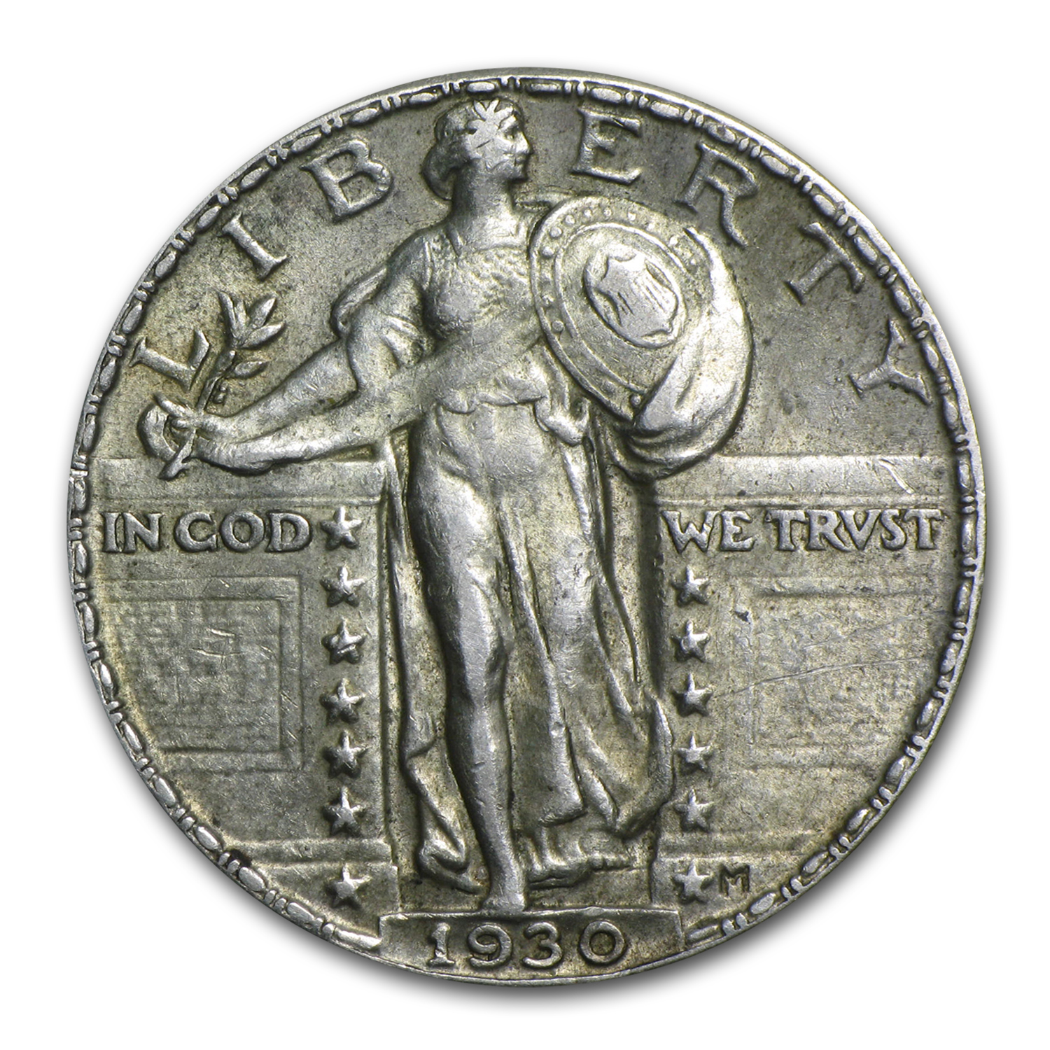 1930-P Almost Uncirculated - Standing Liberty Quarter